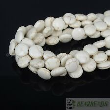 White Howlite Turquoise Side Ways 12mm Round Candy Coin Spacer Beads 16'' Strand