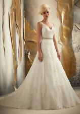 2013 Custom New Sleeveless With Strap V-Neck Lace and Bead A-Line Wedding Dress