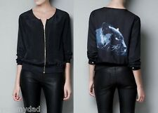 BRAND NEW ZARA PANTHER PRINTED COTTON JACKET IN BLACK BNWT