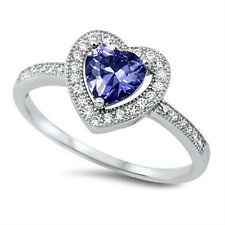 BEST SELLER TANZANITE & CZ HEART LOVE  .925 Sterling Silver Ring Sizes 5-9