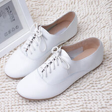 Women/Lady White Leather Loafer Oxford Flat Shoe Lace Up Brogue Casual Retro New