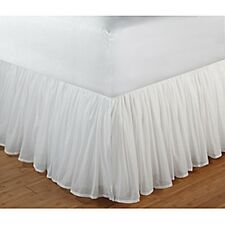 White Sheer 100-percent Cotton Voile 15-inch Drop Gathered Bedskirt