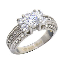 Stainless Steel 1.25 Carats Cubic Zirconia Swarovski Crystal Accent Wedding Ring