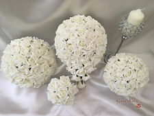 Wedding Flowers Ivory Rose Crystal Bouquet, Bride, Bridesmaid, Flower-Girl Wand