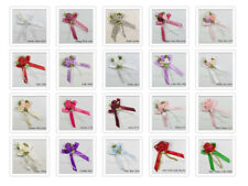 Satin Ribbon Rose Triple Cluster  Posy Bow With Beads 30 Colours Packet of 20