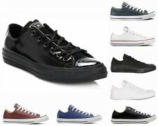 CONVERSE All STAR OX LEATHER BLACK MONO WHITE BLUE MAROON TRAINERS SIZE UK 3-12