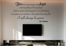 """Vinyl Wall Decal THE NOTEBOOK """"I will always be yours"""" quote/words/ROMANTIC"""