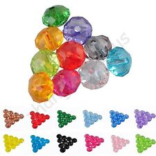 Colorful Rondelle Acrylic Faceted Bicone Spacer Loose Beads Charms 6x4 & 8x5 mm