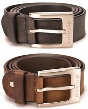 "MILANO MENS 1.5"" REAL FULL GRAIN LEATHER BELTS BLACK BROWN BELT SILVER BUCKLE"