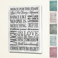 Reach For The Stars - Wall Quote Sign Saying Box Canvas Fabric Print - 6 Colours