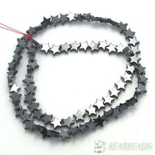 Natural Jet Hematite Gemstones Flat Star Loose Beads 16'' Strand 6mm 8mm 10mm