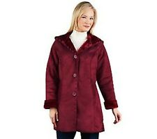 Denim & Co. Faux Suede Whipstitching Jacket with Faux Fur Hood PICK SIZE & COLOR