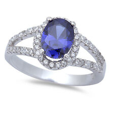 BEST GIFT! TANZANITE & WHITE CZ  .925 Sterling Silver Ring SIZES 5-9