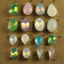 12pcs white/pink opal rhinestones Sew On Glass Crystal teardrop/oval Multi size