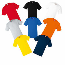 6 PLAIN FRUIT OF THE LOOM COTTON T SHIRTS S M L XL XXL MIX COLOURS TEE SHIRTS