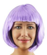 6 X SHORT PURPLE STRAIGHT GLOSSY BOB WIG WITH FRINGE COSPLAY FANCY DRESS PARTY