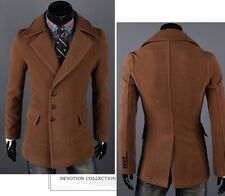 Vintage Mens Solid Trench Coat Single Breasted Duffle Winter Blazer Jackets 5615