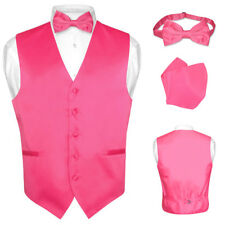 Men's Dress Vest BOWTie HOT PINK FUCHSIA Bow Tie Set for Suit or Tuxedo