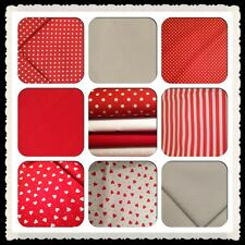 Red & White Prints Co-ordinating fabric  - FAT QUARTERS cotton 1st class uk post