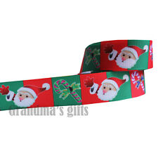 "1""25mm Father Christmas Printed Grosgrain Ribbon5/50/100Yards Hairbow Wholesale"