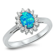 BLUE OPAL & CZ FLOWER .925 Sterling Silver Ring SIZES 5-9