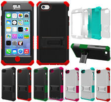 RUGGED TRI-SHIELD SOFT SKIN HARD CASE STAND SCREEN PROTECTOR FOR APPLE iPHONE 5c
