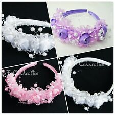 NEW Flower Girls/Wedding/Pageant Headband, WHITE, PINK, PURPLE