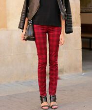 ZARA BNWT WINE CHECKED TROUSERS ALL SIZES SPRING 2013 A/W COLLECTION
