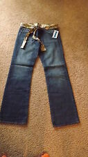 DEMOSS JEANS WITH CHEETAH PATTERN SILK LINING AND BELT