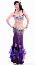Belly Dance Costume 4 Pics Bra&Belt&&Necklace&Armband 34B/C 36B/C 38B/C 8 colour