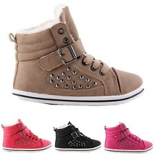 Girls Boys Kids Children Studded Winter Fur Lined Hi Top Trainers Ankle Boots