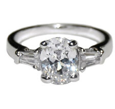 HOT NEW CLEAR OVAL 3CT SOLITAIRE WITH BAGUETTE CUBIC ZIRCONIA ENGAGEMENT  RING