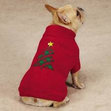 Holiday Turtleneck Dog Red Sweater Christmas Tree w/ blinking star choose size