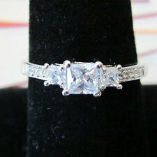 NEW STERLING SILVER 925 Princess 3 CZ Stone Accented Wedding 2 Ring  SZ 5,6,7,8