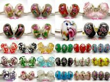 Choose 20pcs FLOWER Lampwork Glass Bead Fit Charm European Bracelet/Necklace GB2