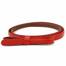 SKINNY EXTRA THIN PATENT LEATHER BELT FOR WOMEN WITH BOW, FAST FREE SHIPPING
