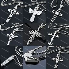 Love/Cross/Letter/Dog Tag Stainless Steel Pendant Necklace Bead Ball Chain 19'L