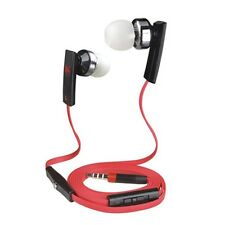 Red Super Bass Headset Flat Wire W/ Mic Volume Remote Control for Samsung