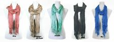 Cotton Silk Blend Scarf Scarves Berry Ash Brown Avocado Black Blue Choices