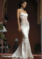 Sexy Strapless Applique Fishtail Wedding Dress Satin Trasparent Bridal Gown