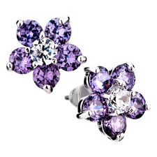 Mothers Day Gifts Pugster Jewelry Purple Flower Crystal Stud Earrings I37