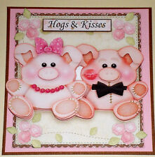 Handmade Greeting Card 3D All Occasion With Pigs