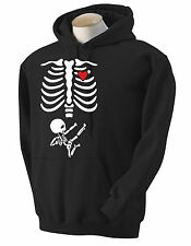HEART NINJA FUNNY HOODIE BABY SKELETON READY TO KIK SOME ASS ON THE WAY OUT