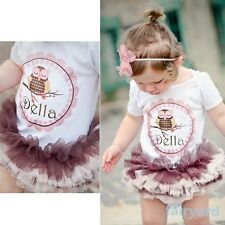 Child Baby Girls One Piece Romper Cotton T-shirts Tullle Tutu Dress Outfits 0-3T