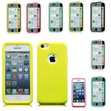 For Apple iPhone 5C Wrap Up TPU Skin Case Cover With Built in Screen Protector