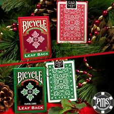 Carte da Collezione Bicycle Leaf Back Holiday Green o Red
