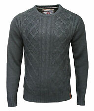 Soul Star Fuji Crew Neck Mens Cable Knit Casual Knitted Jumper Top charcoal 2001