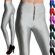 MOGAN Zip Front SHINY HIGH WAISTED LEGGINGS Disco Stretchy Skinny Pants
