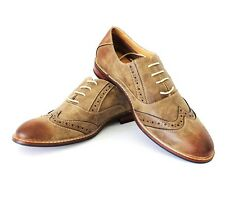 Mens Brown Leather Shoes Brogue Ferro Aldo Round Toe Lace Up Denim Friendly