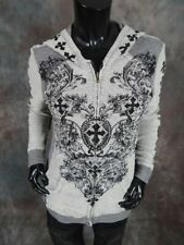 Womens VOCAL Zip-Up Hoodie Jacket in 2-Tone Gray with Crystal Cross Designs!